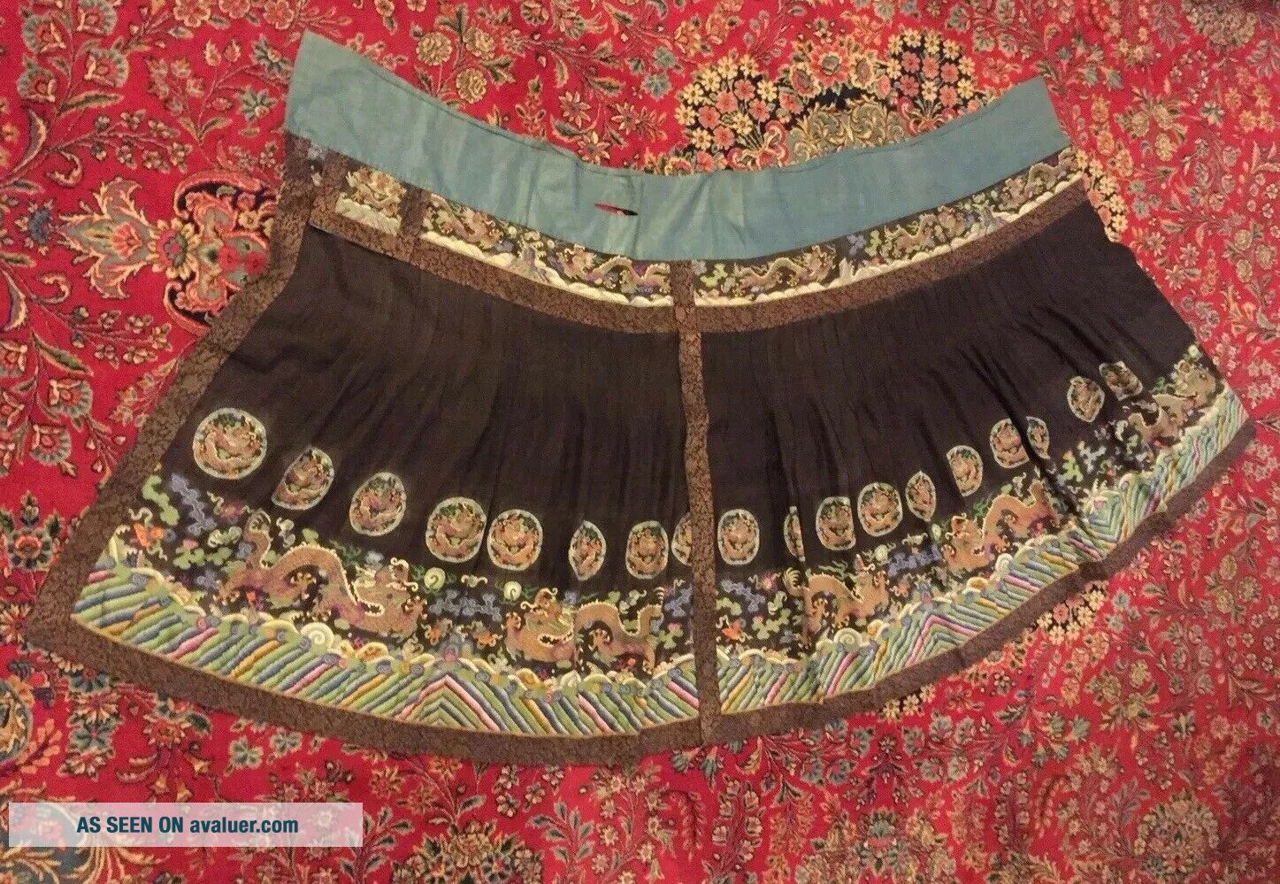 Antique Chinese Pleated Black Gold Dragon Silk Wrap Around Skirt 37x87 Inches