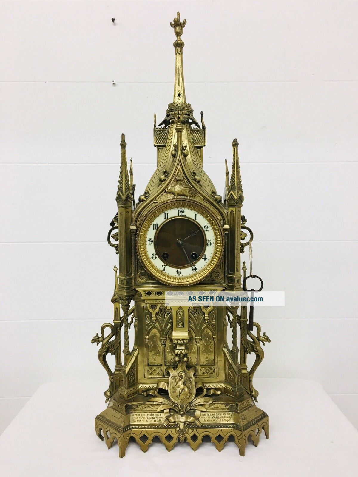 Rare 1893 Pugin Style GOTHIC REVIVAL Gilt Bronze Brass CATHEDRAL Large CLOCK