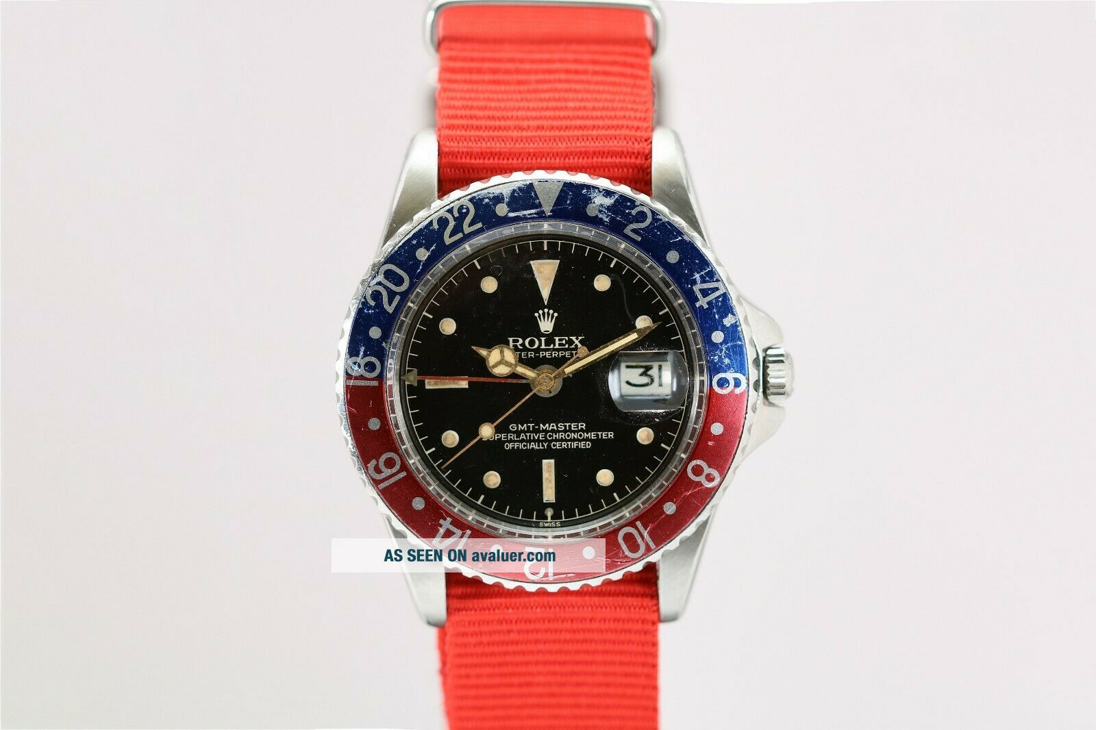 Rolex GMT Master 1675 Gilt Chapter Ring Pointed Crown Guard Vintage Watch,  1960s
