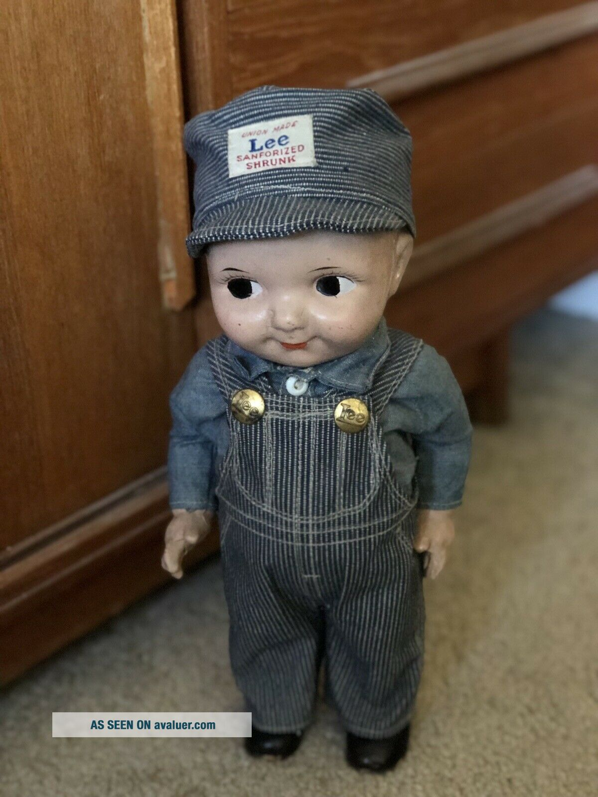 VTG Buddy Lee Hard Conposition Railroad Doll Union Made Striped Overalls Hat