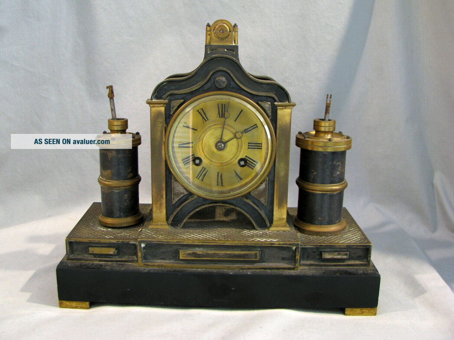 Antique FRENCH MEDAILLE BRONZE MECHANICAL CLOCK -