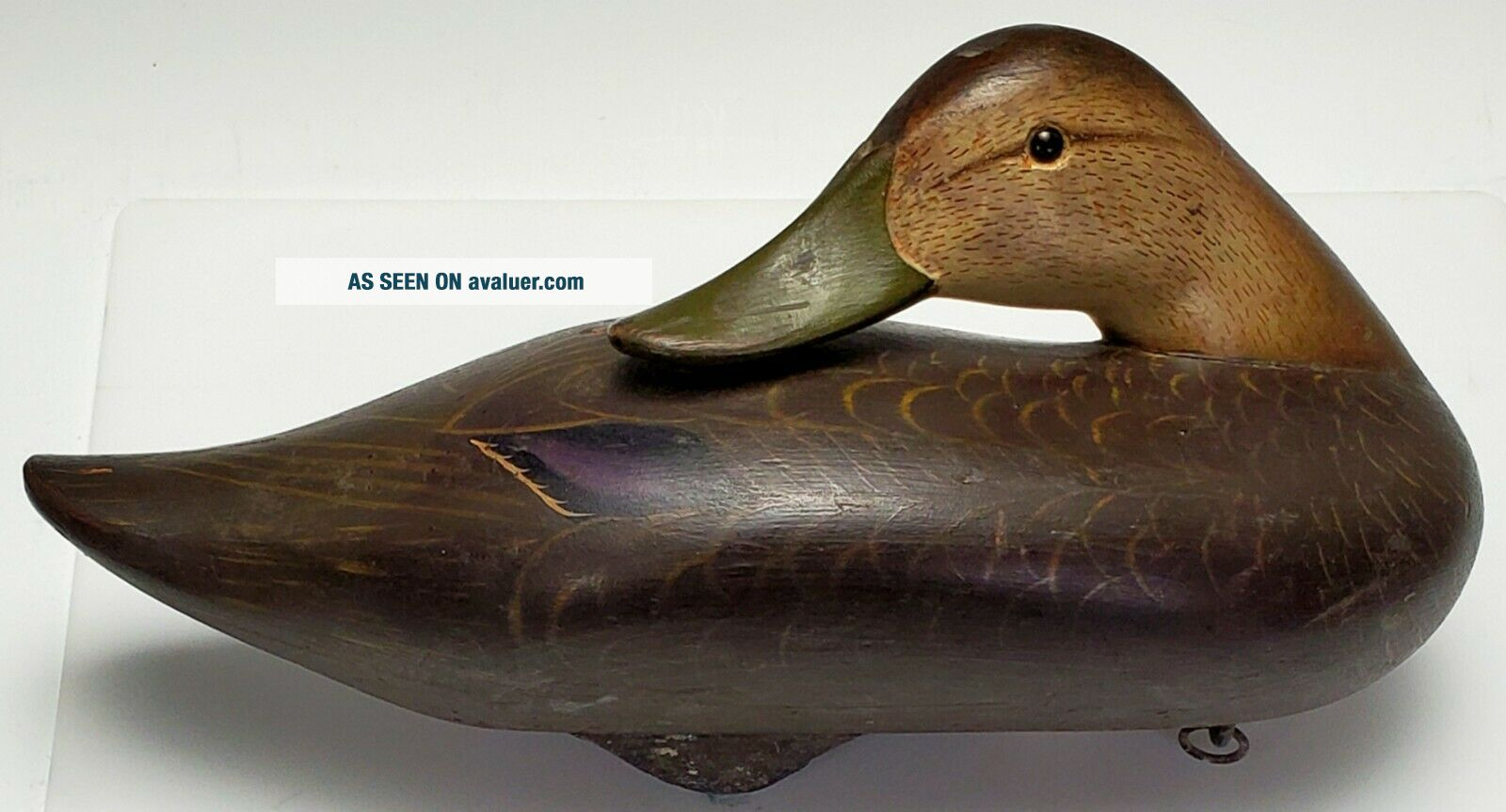 VINTAGE c.  1950 ' s CHARLIE JOINER,  MARYLAND EARLY HAND CARVED WOODEN DUCK DECOY