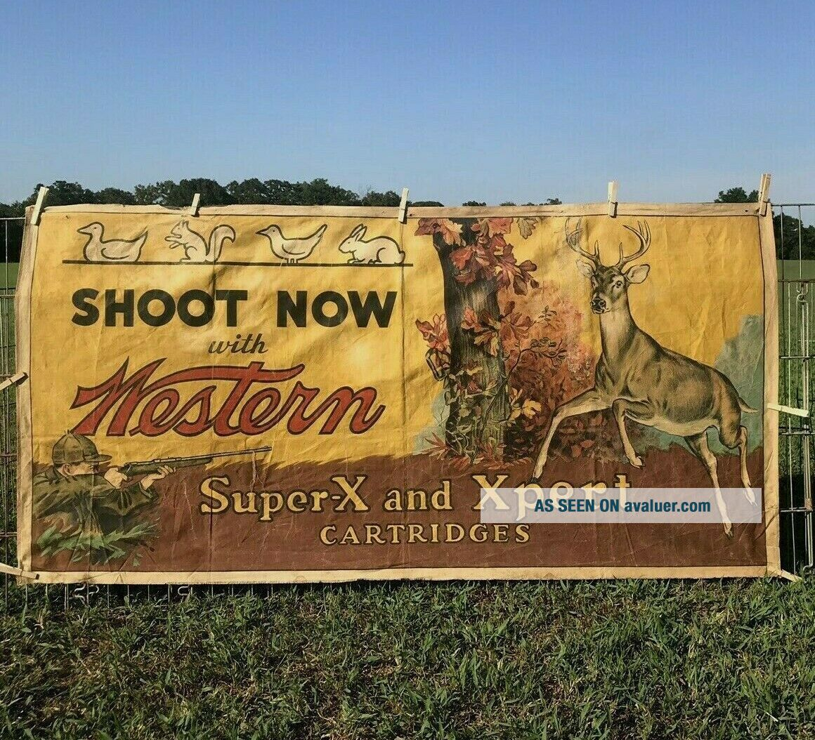 Vtg Winchester Cloth Shooting Gallery Table Banner Sign - So RaRe