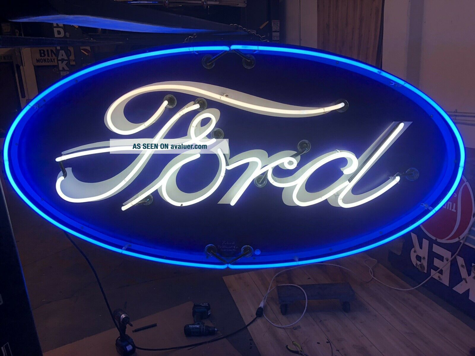 Double Sided Porcelain Neon Ford Dealership Sign RARE VERSION