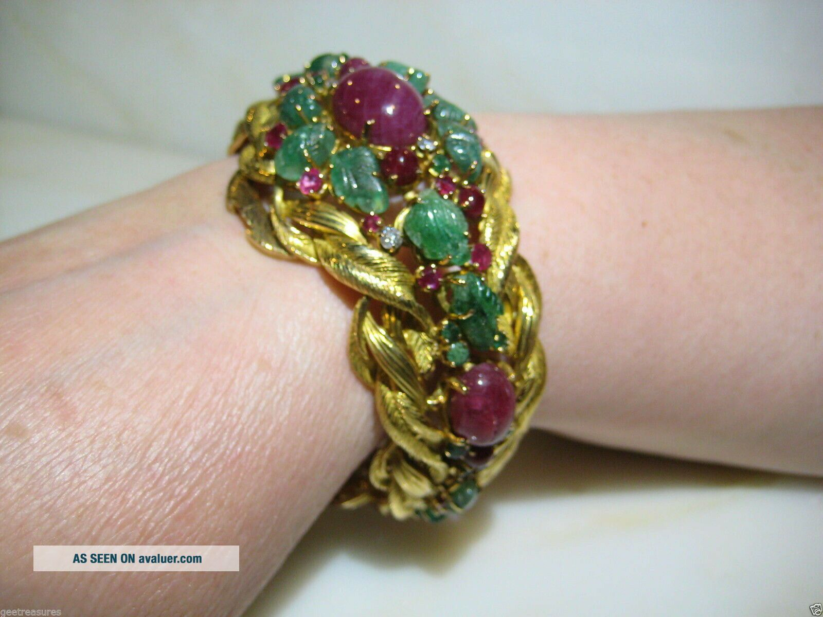 VINTAGE CARTIER TUTTI FRUTTI 18KT GOLD EMERALD RUBY DIAMOND BRACELET FRANCE