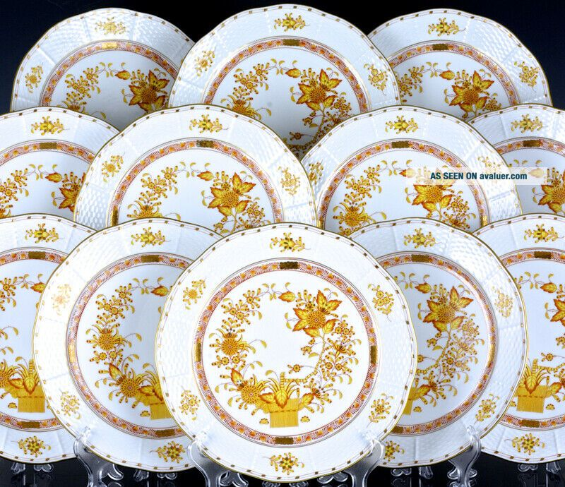 SET OF 12 HEREND HUNGARY YELLOW INDIAN BASKET PATTERN 10 INCH DINNER PLATES N/R