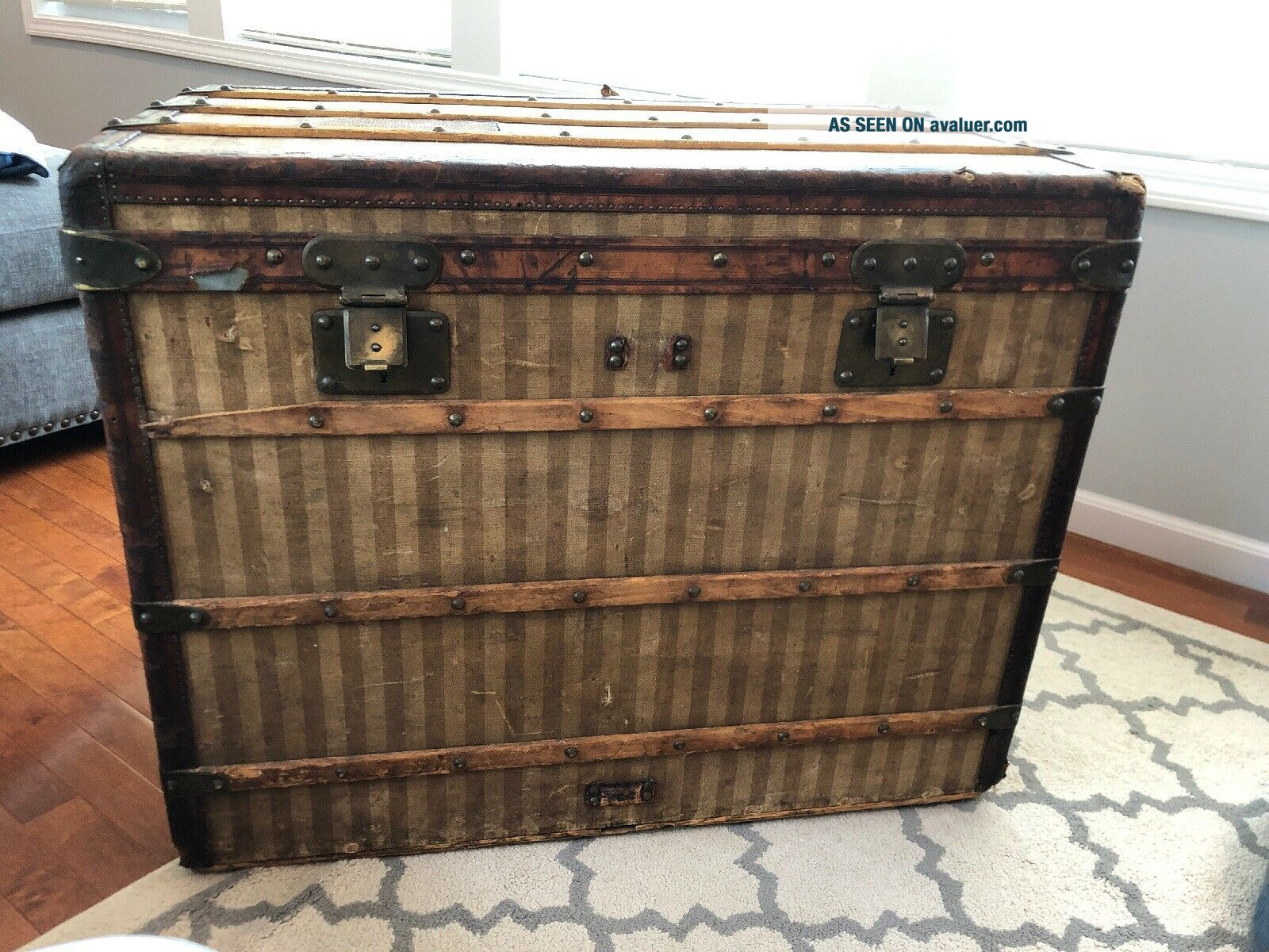 Antique Louis Vuitton Rayee Striped Canvas Trunk