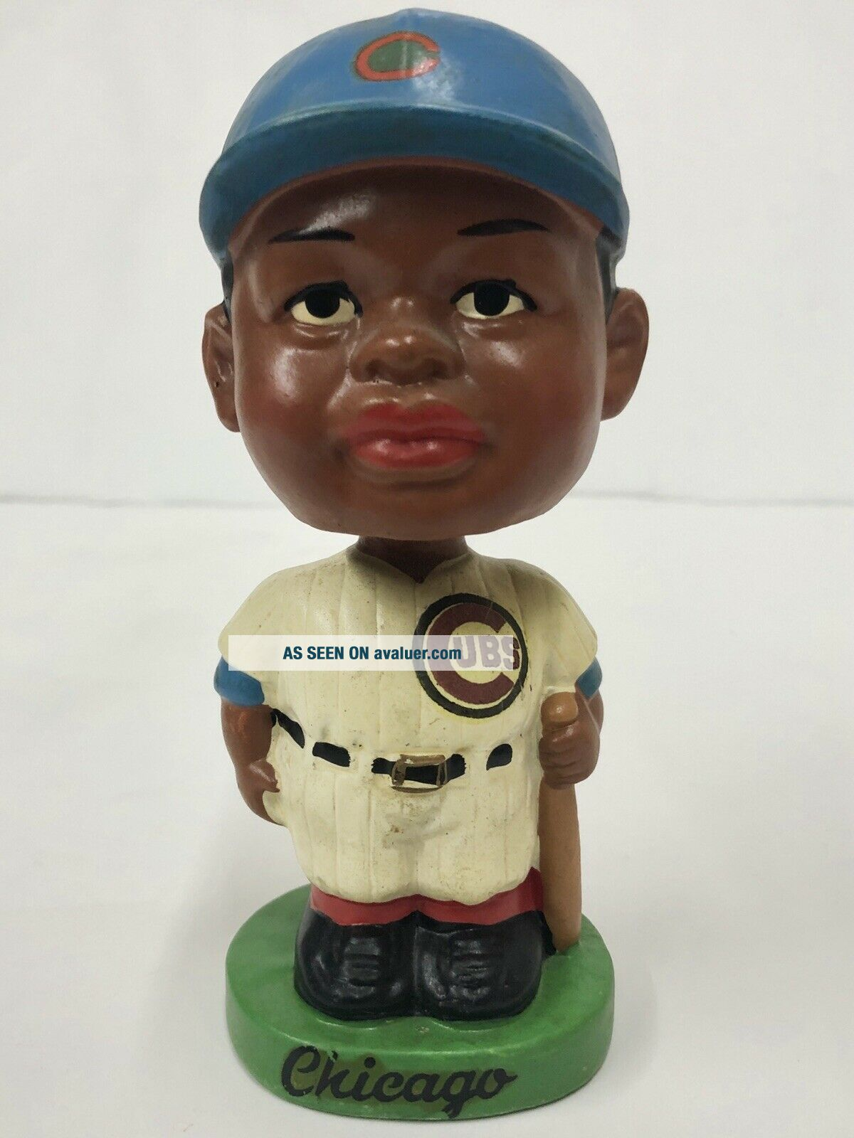 1962 CHICAGO CUBS BLACK FACE BOBBLE HEAD NODDER MADE IN JAPAN GREEN BASE RARE
