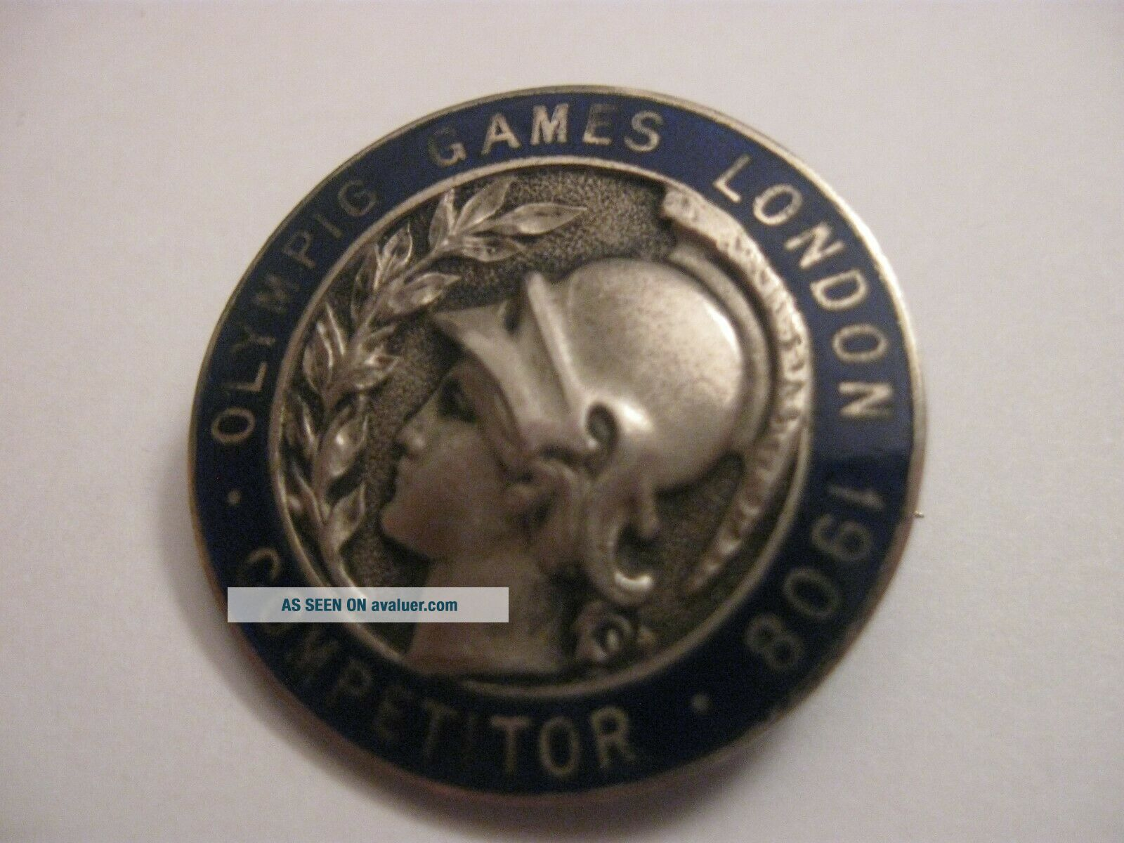 RARE OLD 1908 OLYMPIC GAMES COMPETITOR ENAMEL BROOCH PIN BADGE WG WINTER GAMES ?
