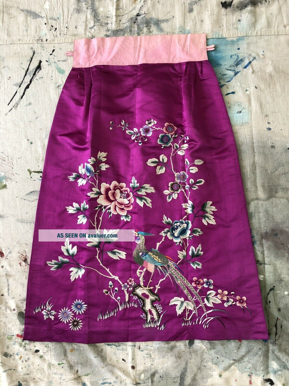 Vintage 1920s 1930s Chinese Purple Silk Floral & Bird Embroidered Skirt Republic
