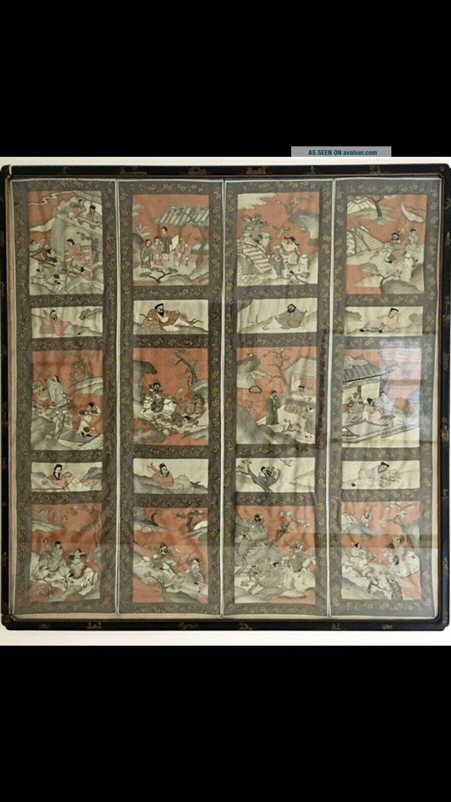 Antique Chinese Kesi Embroidery 4 Panel Tapestry 8 IMMORTALS Deities 40x42