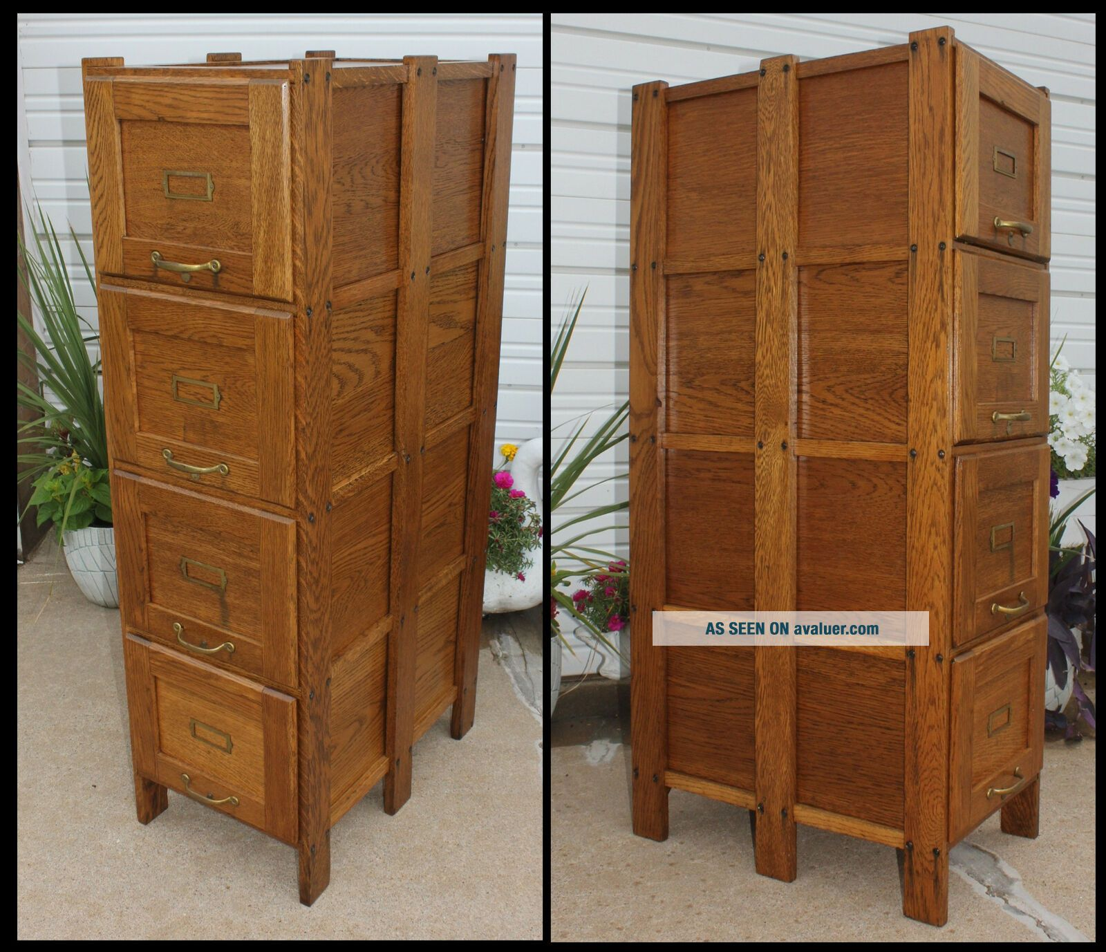 Antique Solid Oak Office Mission Arts & Crafts 4 Drawer File Cabinet Clean&Cute