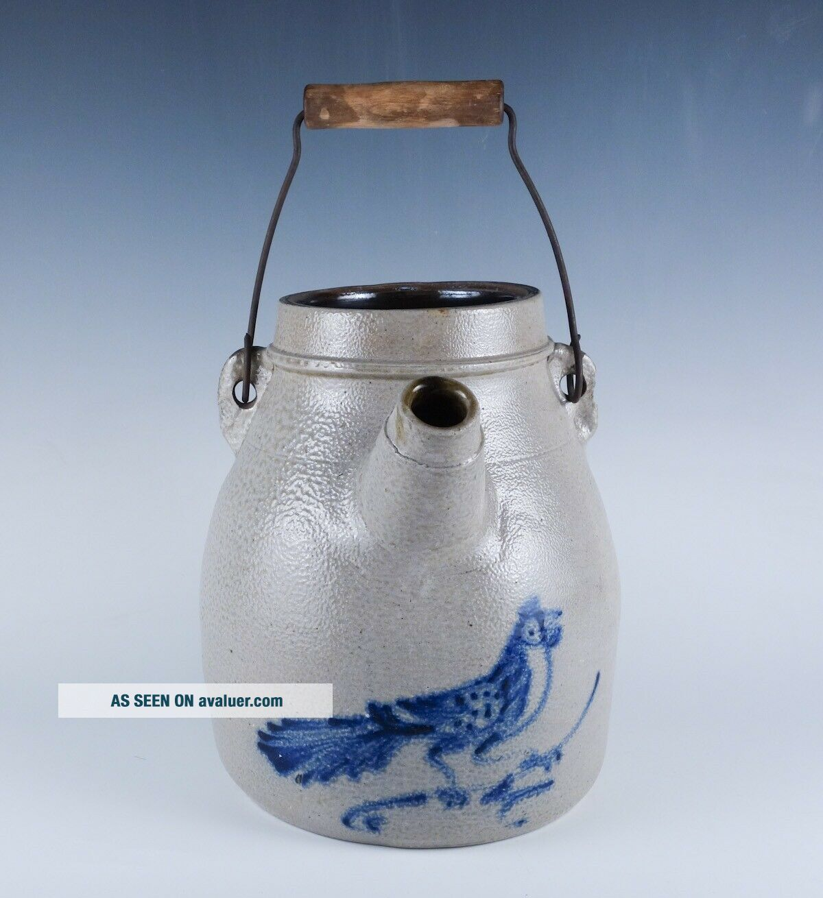 Rare Antique 19c Blue Decorated Stoneware Bird Batter Jug w Handle