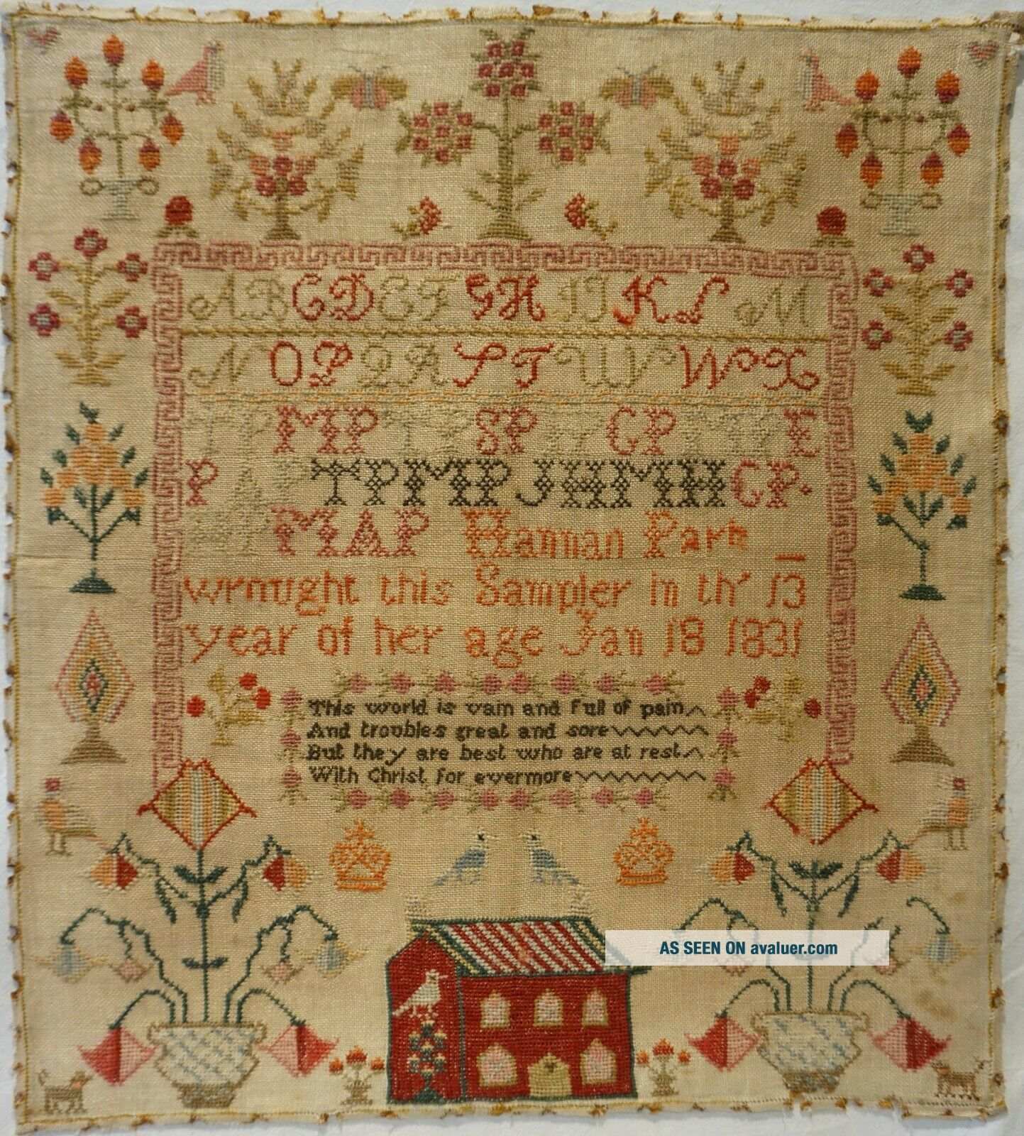 EARLY 19TH CENTURY RED HOUSE,  MOTIF & VERSE SAMPLER BY HANNAH PARK AGE 11 - 1831
