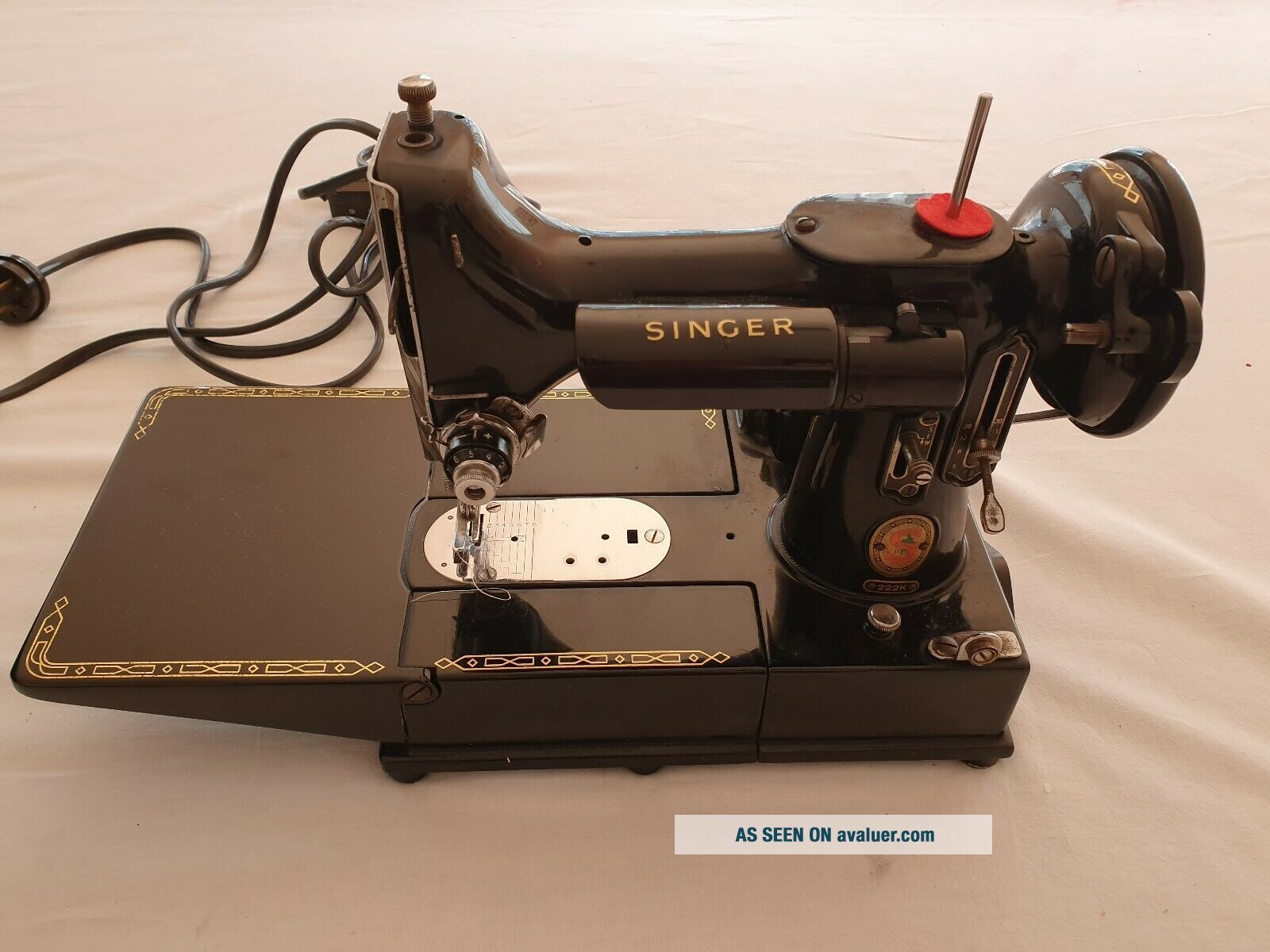 Antique singer electric sewing machine.  Model 222K Featherweight portable