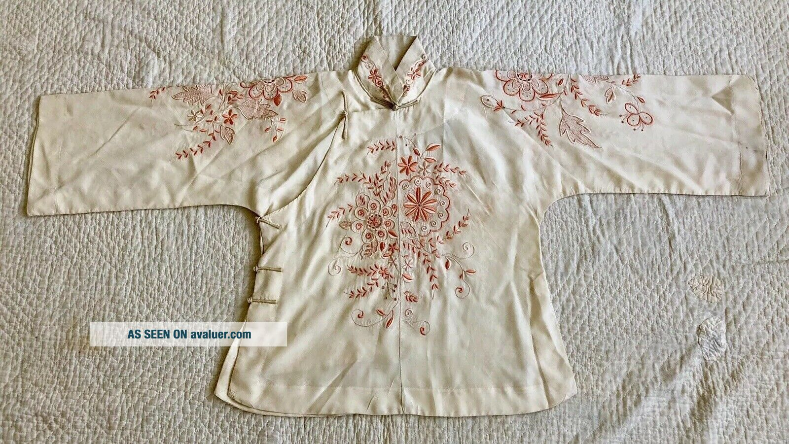 Vintage 1920s 30s Chinese Silk Cheongsam Qipao Top Blouse Floral Embroidery VTG