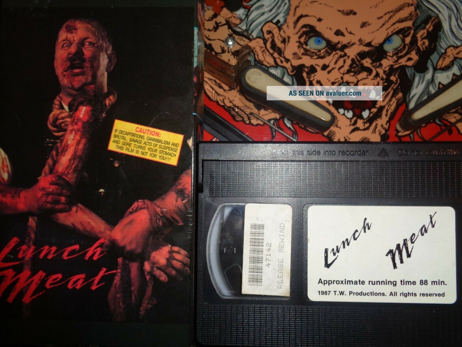 LUNCH MEAT VERY RARE VHS 1987 HORROR TAPEWORM TIGHT SLIP COVER
