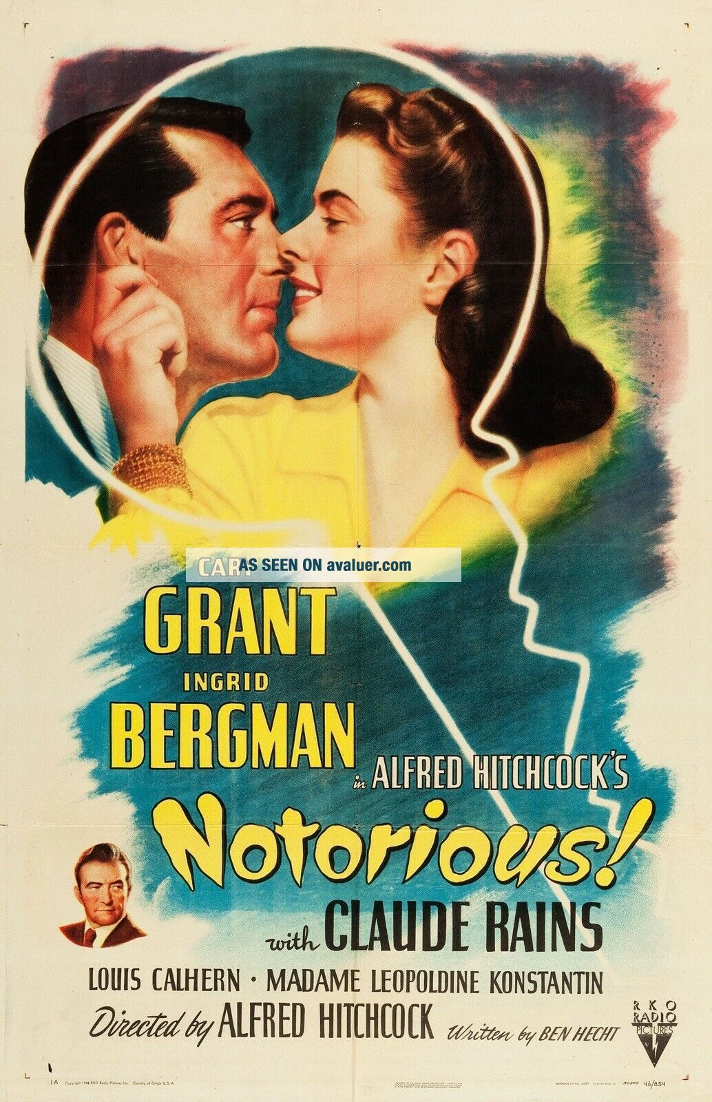 Vintage Movie 16mm NOTORIOUS Feature 1946 Film Adventure Drama Sci - Fi