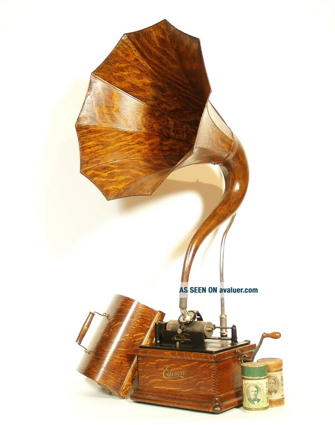 1910 Edison Fireside Phonograph w/Matching Faux Wood Cygnet Horn 2/4 Minute
