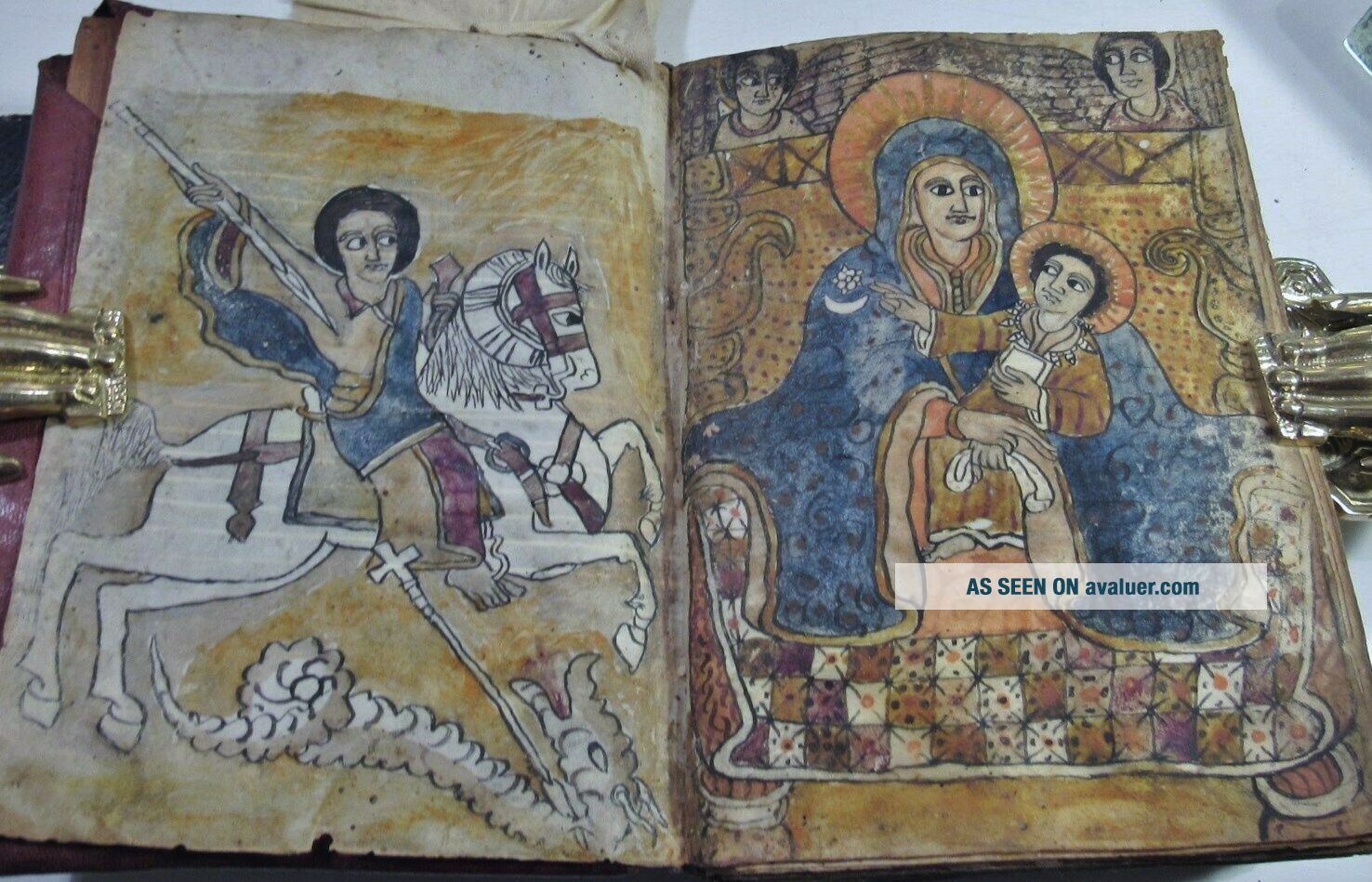 COPTIC ETHOPIAN BIBLE/1700 ' s/ 2 HANDCOLORED ILLUS/ORIG.  HAND CRAFTED LEATHER BNDG