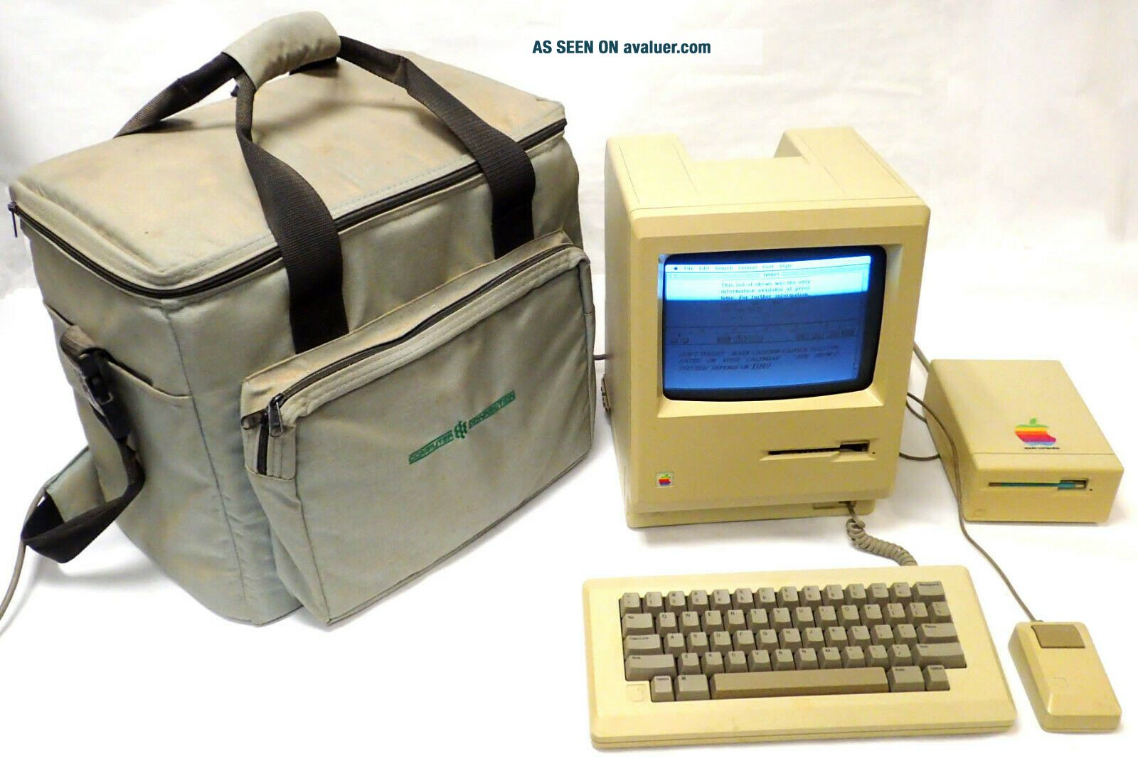 1984 APPLE MACINTOSH M0001 COMPUTER 128K w KEYBOARD MOUSE DISK DRIVE,